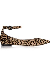 Gianvito Rossi Leopard Print Calf Hair Point Toe Flats Leopard Print