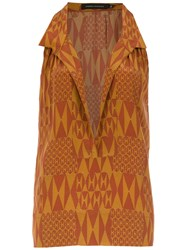 Andrea Marques Silk Printed Blouse Brown