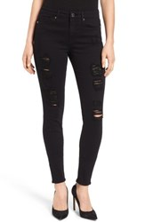 Good American Plus Size Women's Legs High Rise Ripped Skinny Jeans Black 002