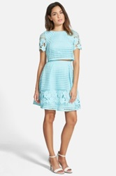 A. Drea Laser Cut Two Piece Dress Juniors Blue