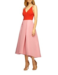 Phoebe Couture Colorblock Pleated A Line Dress Pink Multi