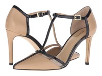 Michael Michael Kors Samantha T Strap Nude Black Smooth Kid Patent Plastic Women's Shoes Beige