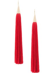 Eddie Borgo Long Tassel Earrings Red