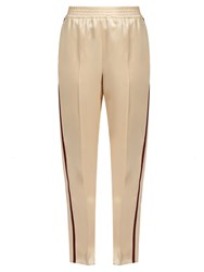 Gucci Web Striped Duchess Satin Trousers Cream