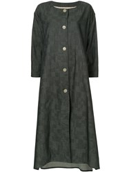 Anrealage Flared Embroidered Coat Blue