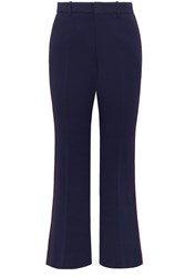 Gucci Grosgrain Trimmed Cady Wide Leg Pants Navy