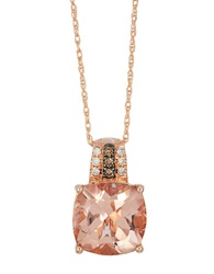 Levian 14K Strawberry Gold Peach Morganite And Diamond Pendant Morganite Rose Gold