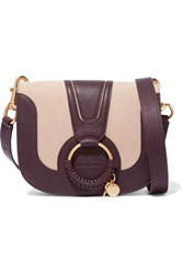 See By Chloe Hana Small Textured Leather And Suede Shoulder Bag Burgundy
