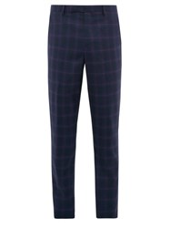 Paul Smith Soho Fit Windowpane Checked Wool Trousers Navy Multi