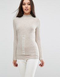 Lavish Alice Ribbed Top With Corset Detail Oatmeal Beige