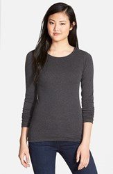 Petite Women's Caslon Long Sleeve Scoop Neck Cotton Tee Heather Charcoal
