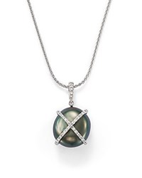 Tara Pearls 18K White Gold X And O Natural Color Baroque Tahitian Cultured Pearl And Diamond Pendant Necklace 16 Black White