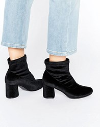 Truffle Collection Round Heel Ankle Boot Black Velvet