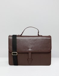 Asos Design Leather Satchel In Burgundy Red