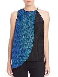 Sachin Babi Neel Croque Lace And Mesh Asymmetrical Top Brilliant Blue