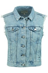 Rag And Bone Frayed Denim Vest Blue