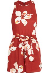 Alice Olivia Mattie Cutout Floral Print Crepe Playsuit Red