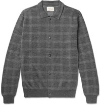 Oliver Spencer Malden Checked Knitted Merino Wool Cardigan Charcoal