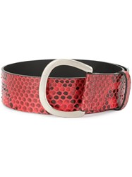 Sonia Rykiel Snakeskin Effect Belt Red