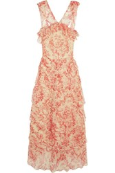 Vilshenko Giovanna Tiered Crinkled Silk Chiffon Midi Dress Pink