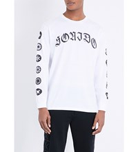 Marcelo Burlon Oscar Graphic Print Cotton Jersey Top White Black