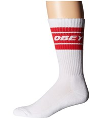 Obey Cooper Socks White Red Men's Crew Cut Socks Shoes