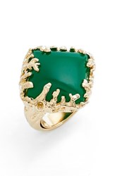 Metal Stone Women's And Coral Set Ring Gold Green Agate