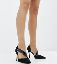 London Rebel Wide Fit Pointed Heels Black Micro
