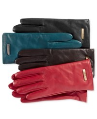 Calvin Klein Leather Gloves Red
