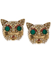 Betsey Johnson Gold Tone Multicolor Crystal Cat Stud Earrings