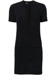 Maison Ullens Textured Fitted Shirt Dress Blue
