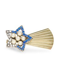 Gerard Yosca Faux Pearl Accented Shooting Star Pin No Color
