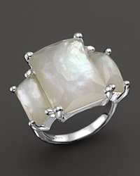Ippolita Sterling Silver Rock Candy 3 Stone Prong Set Ring In Mother Of Pearl White