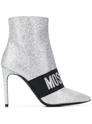 Moschino 100Mm Logo Band Glitter Ankle Boots Silver