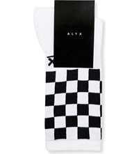 Alyx Checkered Stretch Cotton Socks White