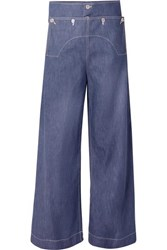 Marni Button Embellished High Rise Wide Leg Jeans Blue