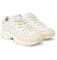 Raf Simons Adidas Originals Ozweego Bunny Rubber Mesh And Leather Sneakers White