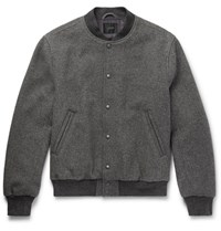 J.Crew Stadium Wool Blend Bomber Jacket Gray