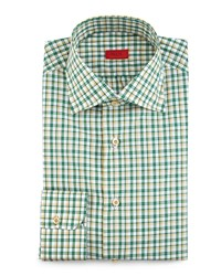 Isaia Box Check Woven Dress Shirt Soft Green Women's