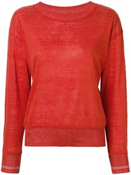 Bellerose Long Sleeve Fitted Sweater Orange