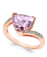 Macy's Pink Amethyst 3 Ct. T.W. And Diamond Accent Statement Ring In 14K Rose Gold