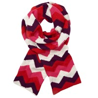 John Lewis Geometric Chevron Print Scarf Red Multi