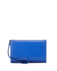 Neiman Marcus Leather Cell Phone Wristlet Royal Blue
