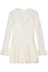 Alexis Yumi Cutout Embellished Corded Lace Playsuit White