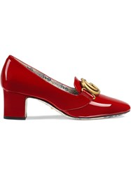 Gucci Patent Leather Mid Heel Pumps With Double G Red