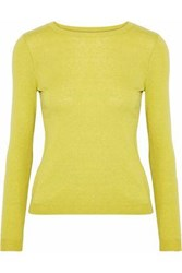 Red Valentino Point D'esprit Paneled Cashmere And Silk Blend Top Sage Green
