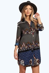 Boohoo Paisley Border Print Shirt Dress Navy
