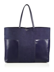 Tory Burch Block T Large Striped Floral Print Leather Tote Tory Navy