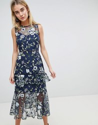 Warehouse Floral Embroidered Tiered Midi Dress Multi