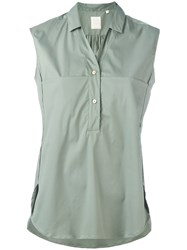 Xacus Sleeveless Button Front Blouse Green